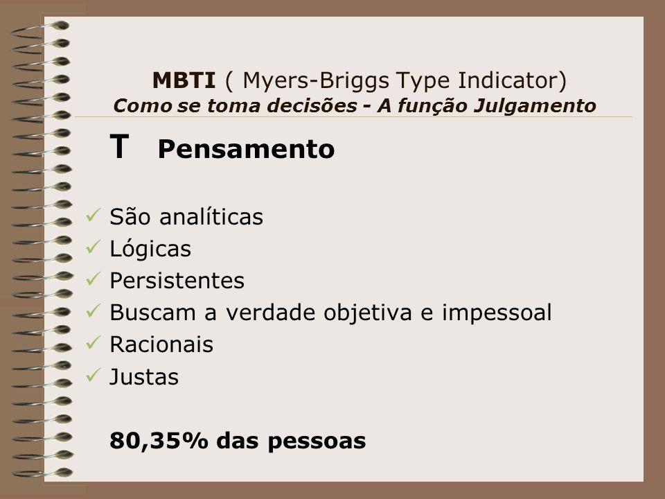MBTI ( Myers-Briggs Type Indicator) Como se toma decisões - A função Julgamento T Pensamento São analíticas Lógicas Persistentes Buscam a verdade objetiva e impessoal Racionais Justas 80,35% das pessoas
