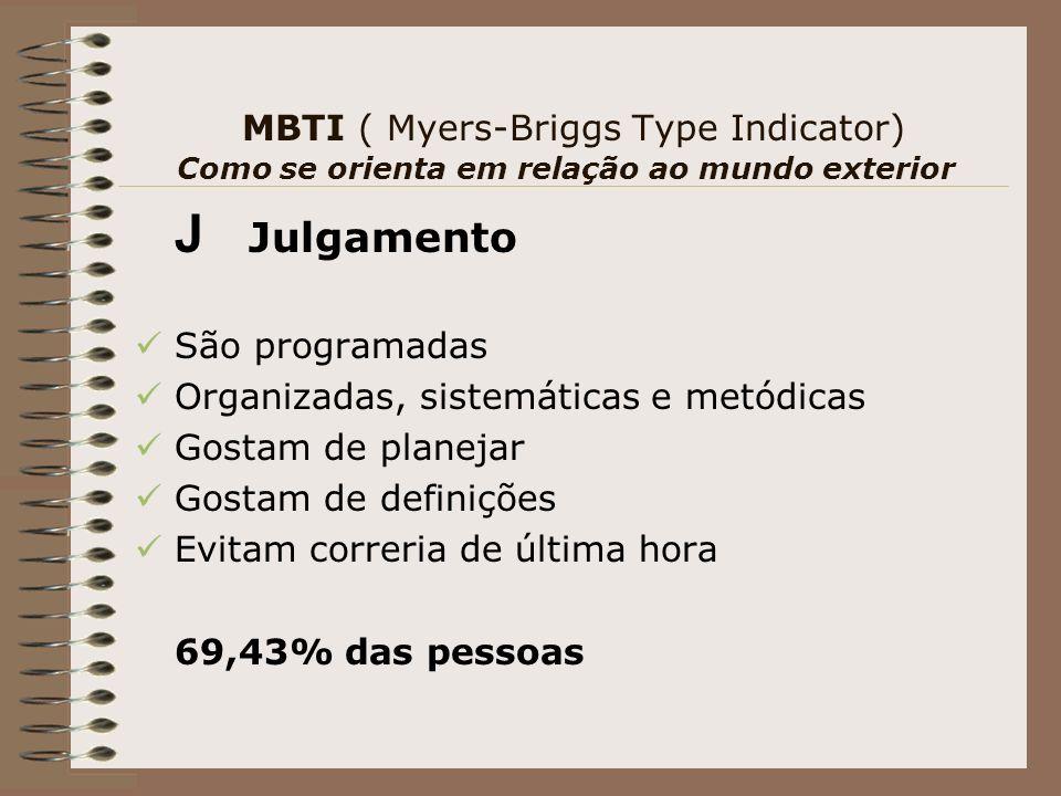 MBTI ( Myers-Briggs Type Indicator) Como se orienta em relação ao mundo exterior J Julgamento São programadas Organizadas, sistemáticas e metódicas Gostam de planejar Gostam de definições Evitam correria de última hora 69,43% das pessoas