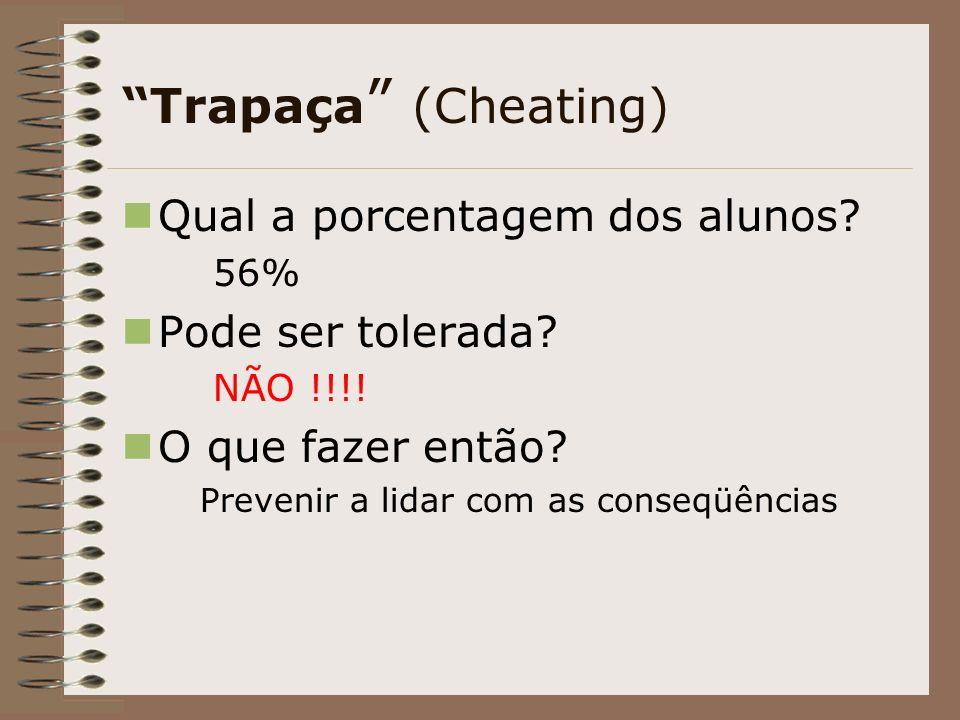 Trapaça (Cheating) Qual a porcentagem dos alunos.56% Pode ser tolerada.