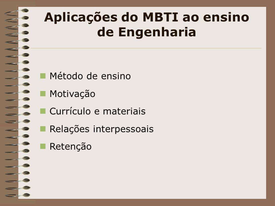 Aplicações do MBTI ao ensino de Engenharia Método de ensino Motivação Currículo e materiais Relações interpessoais Retenção