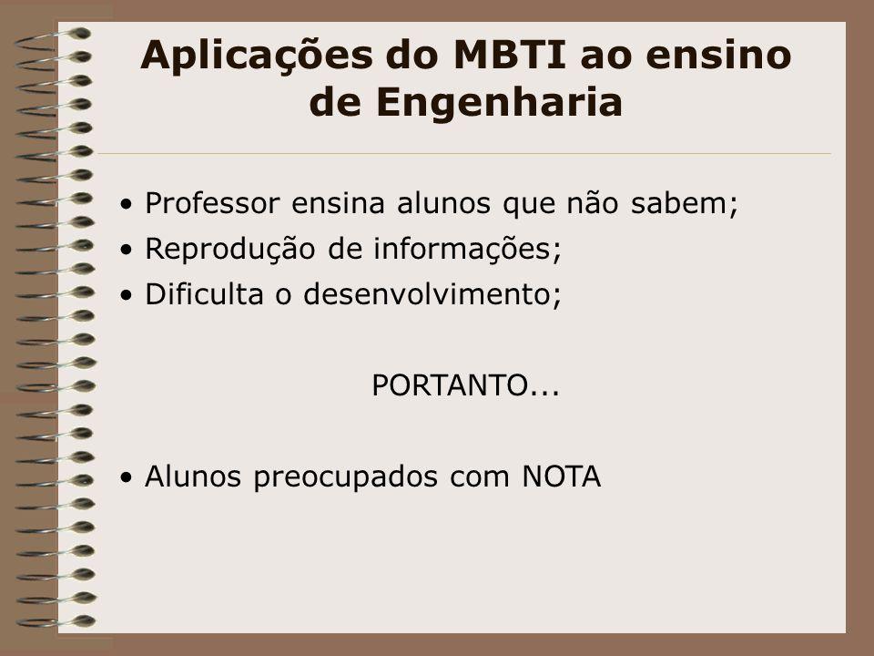 Aplicações do MBTI ao ensino de Engenharia Professor ensina alunos que não sabem; Reprodução de informações; Dificulta o desenvolvimento; PORTANTO...