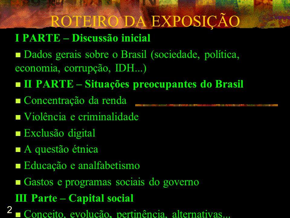 2 ROTEIRO DA EXPOSIÇÃO I PARTE – Discussão inicial Dados gerais sobre o Brasil (sociedade, política, economia, corrupção, IDH...) II PARTE – Situações