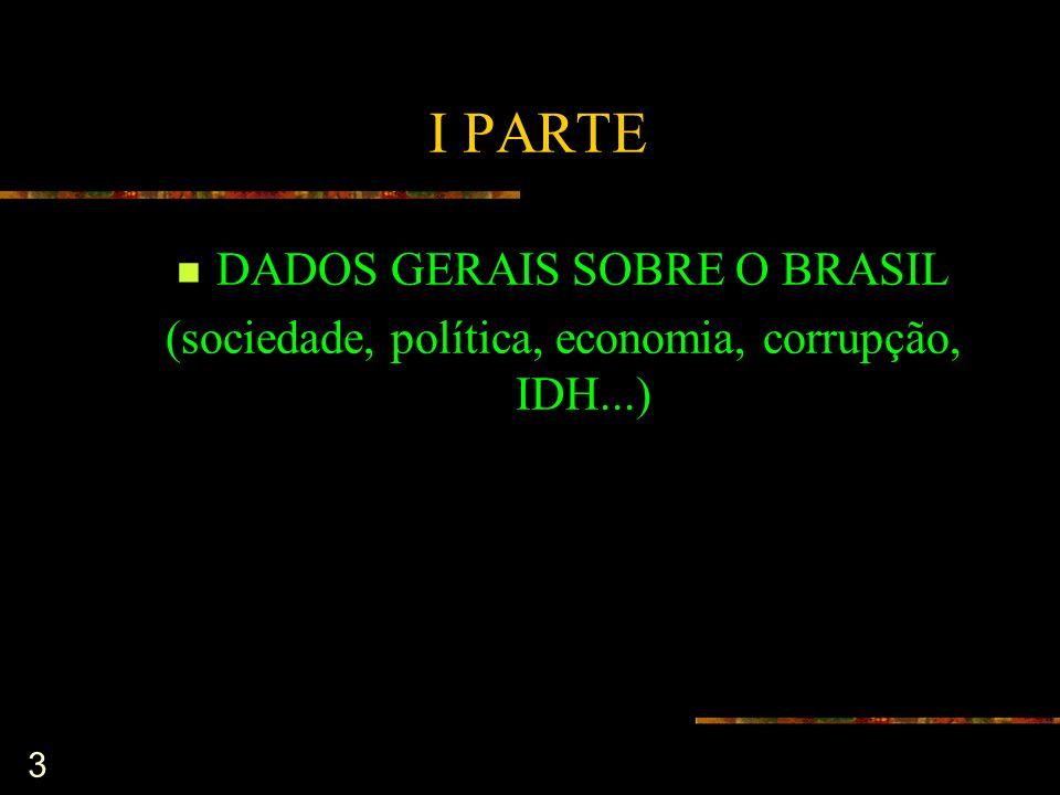 3 I PARTE DADOS GERAIS SOBRE O BRASIL (sociedade, política, economia, corrupção, IDH...)