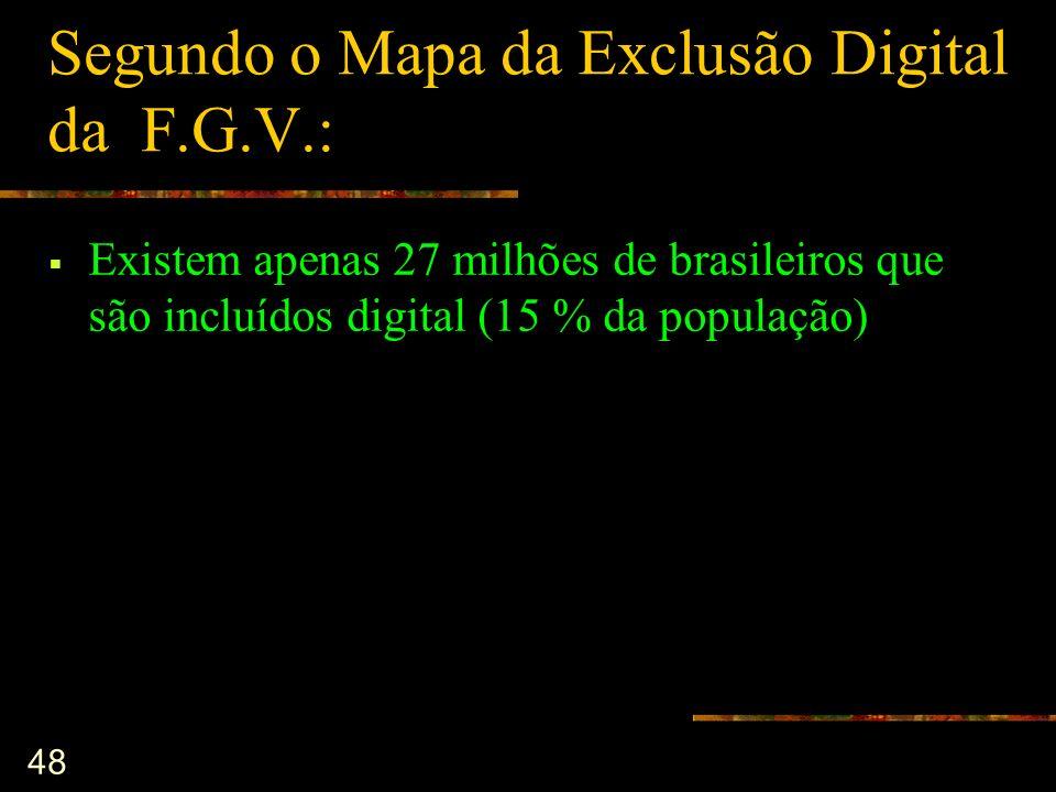 48 Segundo o Mapa da Exclusão Digital da F.G.V.: Existem apenas 27 milhões de brasileiros que são incluídos digital (15 % da população)