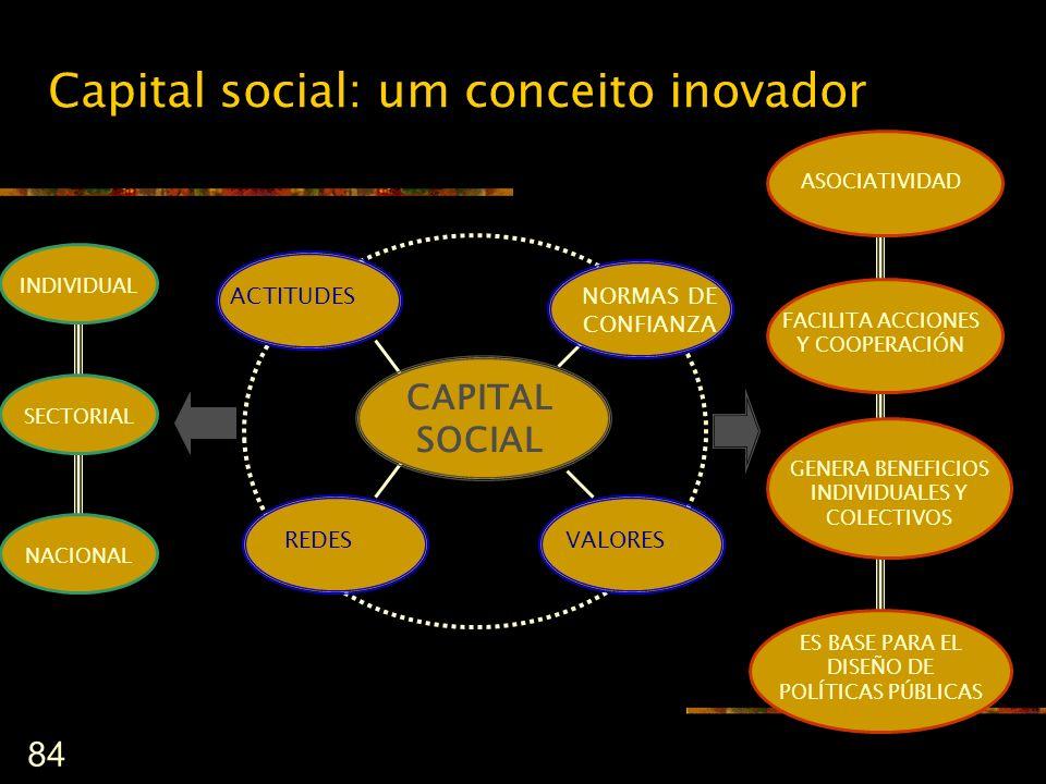 84 Capital social: um conceito inovador VALORES REDES CAPITAL SOCIAL ACTITUDES FACILITA ACCIONES Y COOPERACIÓN GENERA BENEFICIOS INDIVIDUALES Y COLECT