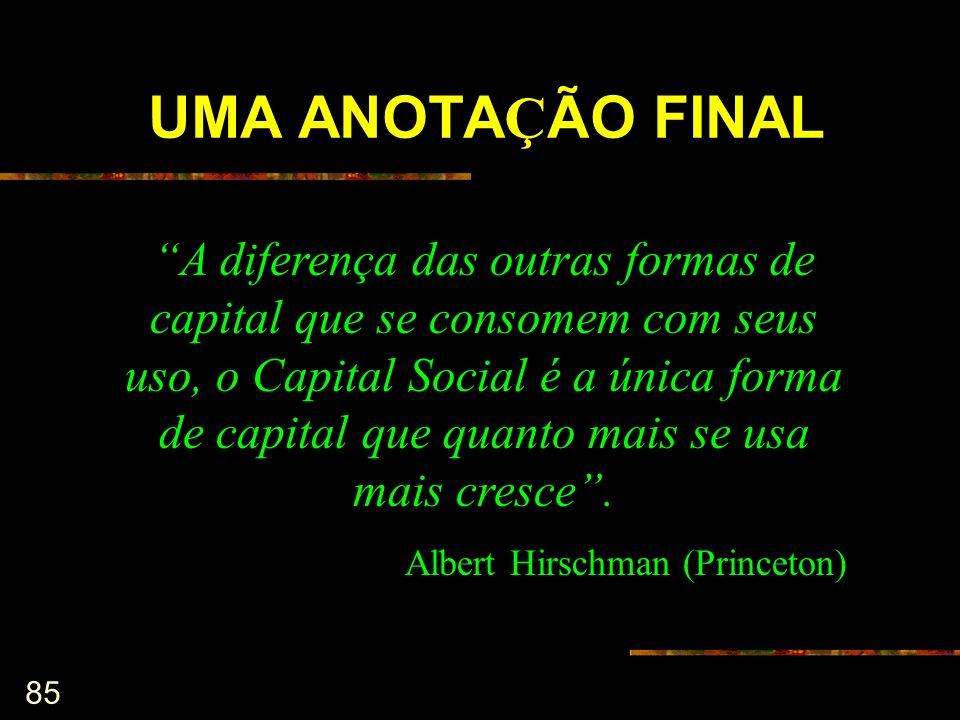 85 A diferença das outras formas de capital que se consomem com seus uso, o Capital Social é a única forma de capital que quanto mais se usa mais cres