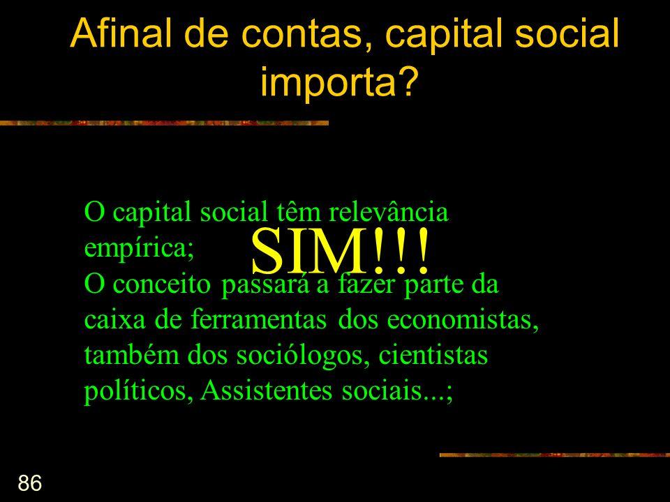 86 Afinal de contas, capital social importa? SIM!!! O capital social têm relevância empírica; O conceito passará a fazer parte da caixa de ferramentas