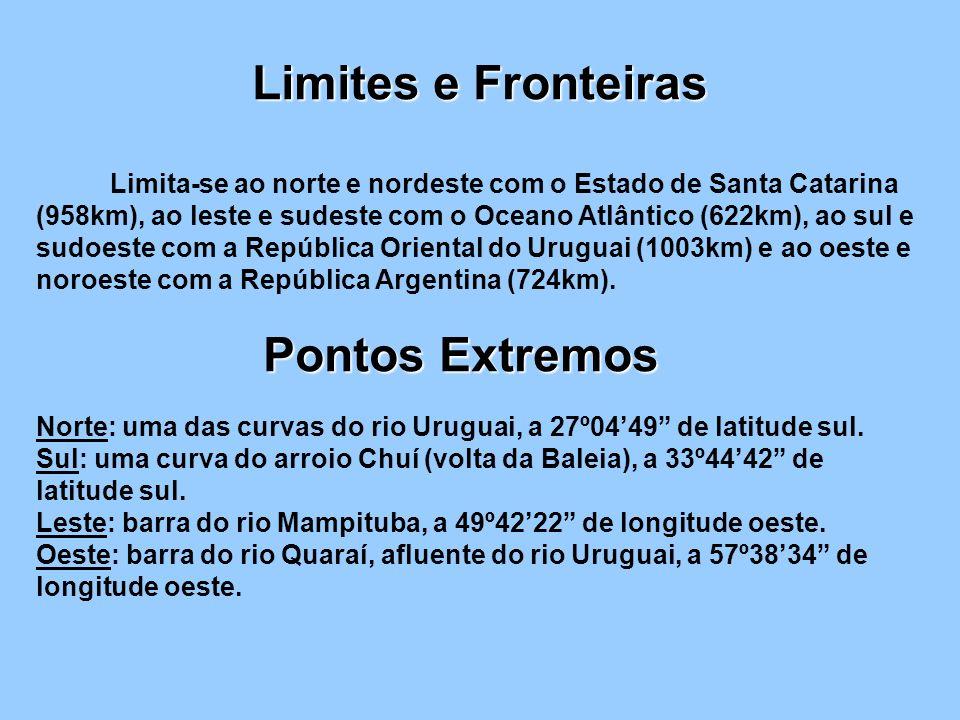 Limites e Fronteiras Limita-se ao norte e nordeste com o Estado de Santa Catarina (958km), ao leste e sudeste com o Oceano Atlântico (622km), ao sul e sudoeste com a República Oriental do Uruguai (1003km) e ao oeste e noroeste com a República Argentina (724km).
