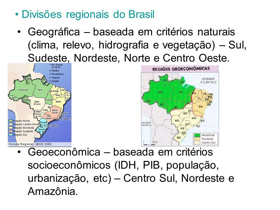 Divisões regionais do Brasil Geográfica – baseada em critérios naturais (clima, relevo, hidrografia e vegetação) – Sul, Sudeste, Nordeste, Norte e Cen