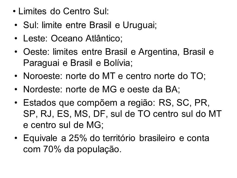 Limites do Centro Sul: Sul: limite entre Brasil e Uruguai; Leste: Oceano Atlântico; Oeste: limites entre Brasil e Argentina, Brasil e Paraguai e Brasi