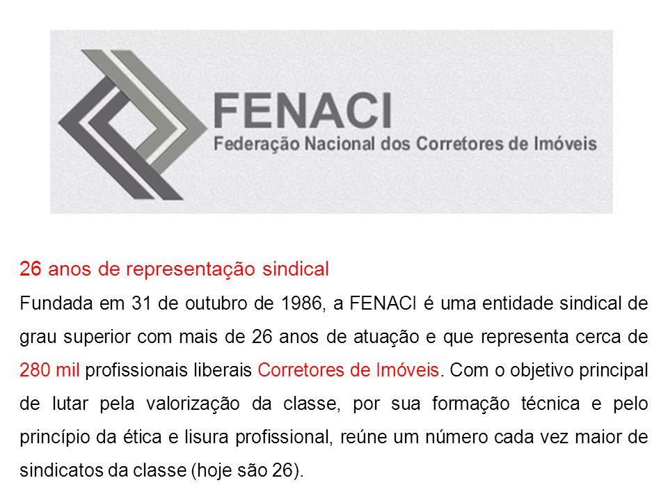 26 anos de representação sindical Fundada em 31 de outubro de 1986, a FENACI é uma entidade sindical de grau superior com mais de 26 anos de atuação e
