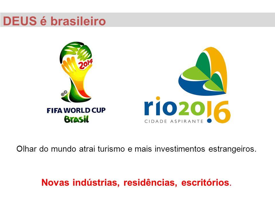 DEUS é brasileiro Olhar do mundo atrai turismo e mais investimentos estrangeiros. Novas indústrias, residências, escritórios.