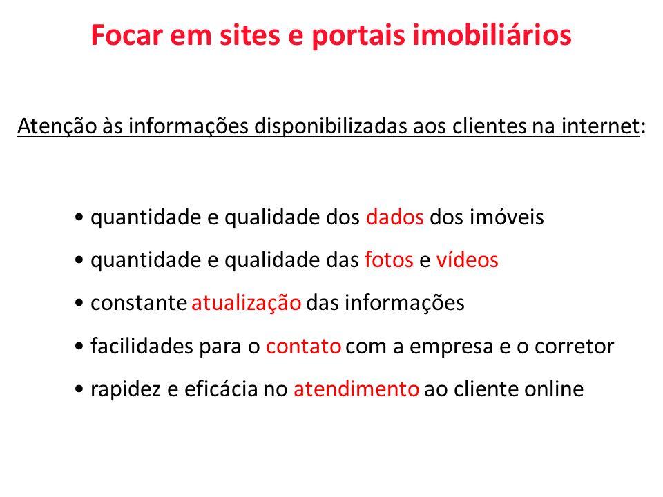 Focar em sites e portais imobiliários Atenção às informações disponibilizadas aos clientes na internet: quantidade e qualidade dos dados dos imóveis q