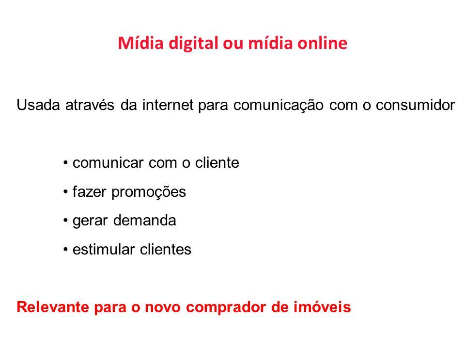Usada através da internet para comunicação com o consumidor comunicar com o cliente fazer promoções gerar demanda estimular clientes Relevante para o