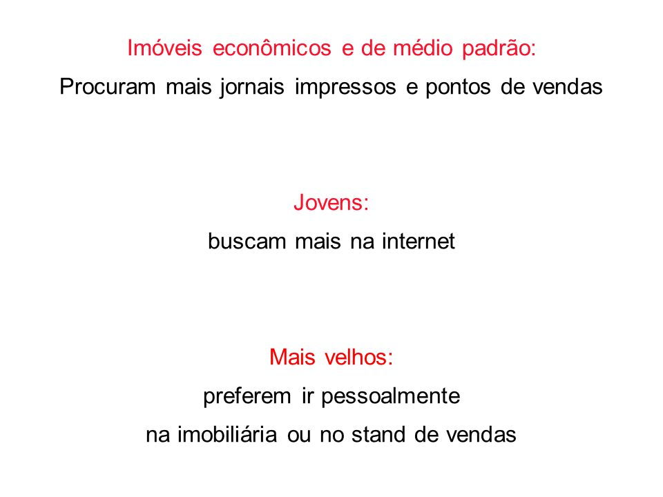 Imóveis econômicos e de médio padrão: Procuram mais jornais impressos e pontos de vendas Jovens: buscam mais na internet Mais velhos: preferem ir pess