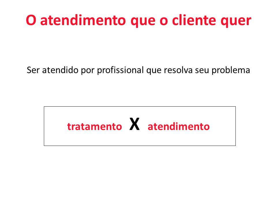 O atendimento que o cliente quer Ser atendido por profissional que resolva seu problema tratamento X atendimento