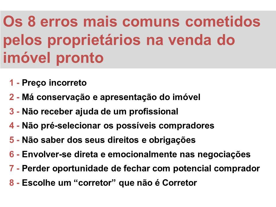 1 - Preço incorreto 2 - Má conservação e apresentação do imóvel 3 - Não receber ajuda de um profissional 4 - Não pré-selecionar os possíveis comprador