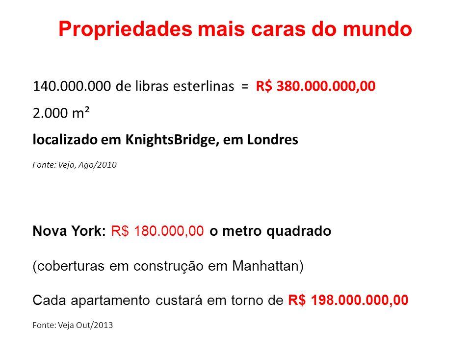 Propriedades mais caras do mundo 140.000.000 de libras esterlinas = R$ 380.000.000,00 2.000 m² localizado em KnightsBridge, em Londres Fonte: Veja, Ag