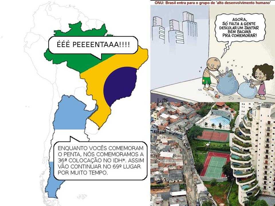 Apesar do relatório da ONU de 2007 apresentar o Brasil com um patamar elevado de IDH, ainda predomina no país uma enorme desigualdade socioeconô- mica