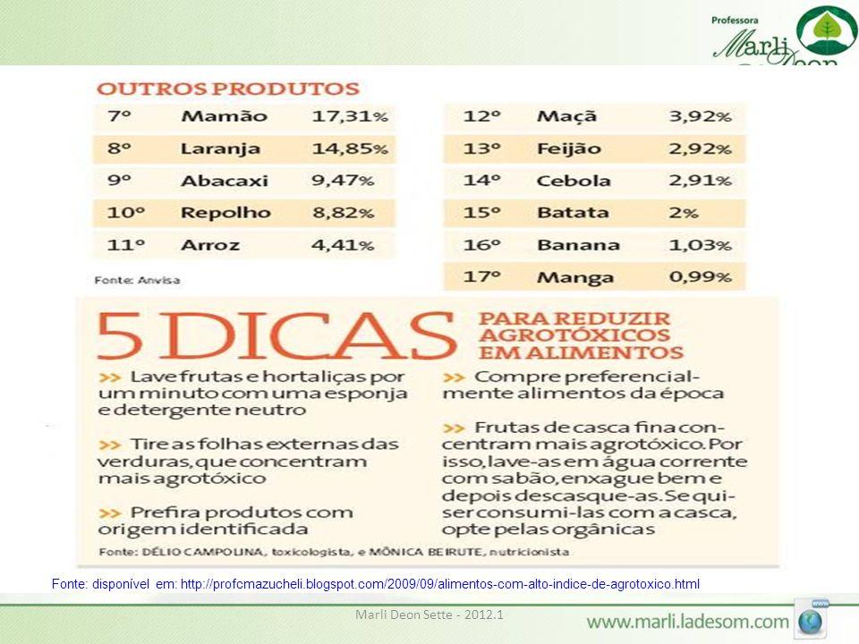 Fonte: disponível em: http://profcmazucheli.blogspot.com/2009/09/alimentos-com-alto-indice-de-agrotoxico.html Marli Deon Sette - 2012.1