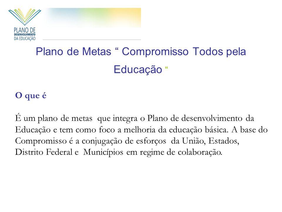 Plano de Metas Compromisso Todos pela Educação O que é É um plano de metas que integra o Plano de desenvolvimento da Educação e tem como foco a melhor