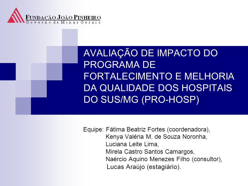 AVALIAÇÃO DE IMPACTO DO PROGRAMA DE FORTALECIMENTO E MELHORIA DA QUALIDADE DOS HOSPITAIS DO SUS/MG (PRO-HOSP) Equipe: Fátima Beatriz Fortes (coordenad