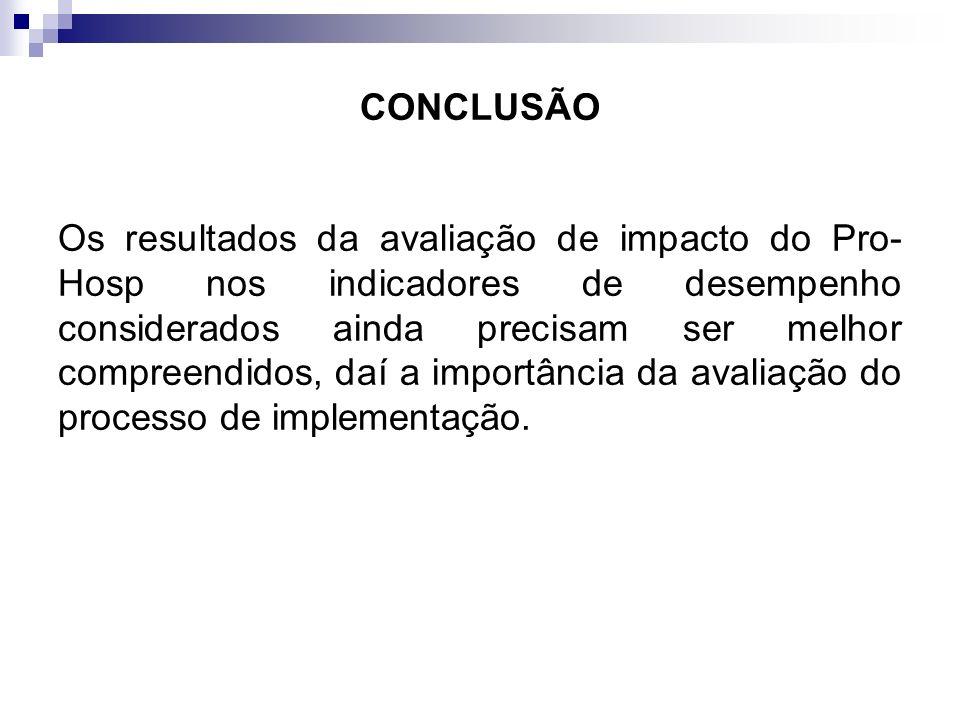 CONCLUSÃO Os resultados da avaliação de impacto do Pro- Hosp nos indicadores de desempenho considerados ainda precisam ser melhor compreendidos, daí a
