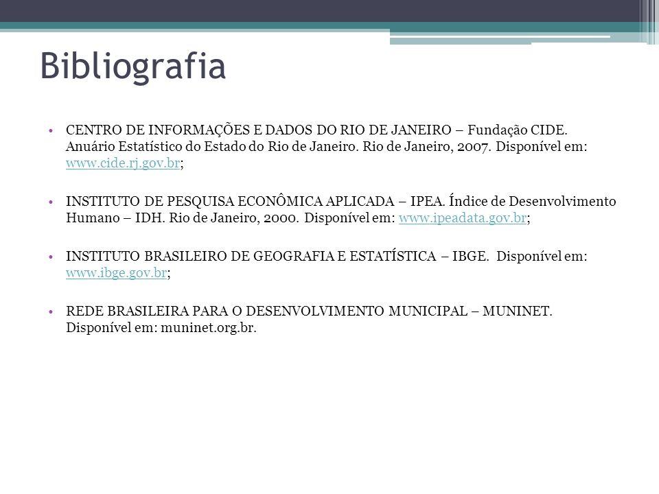 Bibliografia CENTRO DE INFORMAÇÕES E DADOS DO RIO DE JANEIRO – Fundação CIDE. Anuário Estatístico do Estado do Rio de Janeiro. Rio de Janeiro, 2007. D