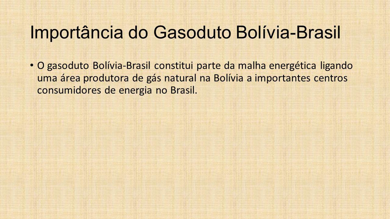Importância do Gasoduto Bolívia-Brasil O gasoduto Bolívia-Brasil constitui parte da malha energética ligando uma área produtora de gás natural na Bolí