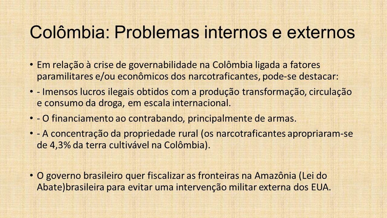 Colômbia: Problemas internos e externos Em relação à crise de governabilidade na Colômbia ligada a fatores paramilitares e/ou econômicos dos narcotraf