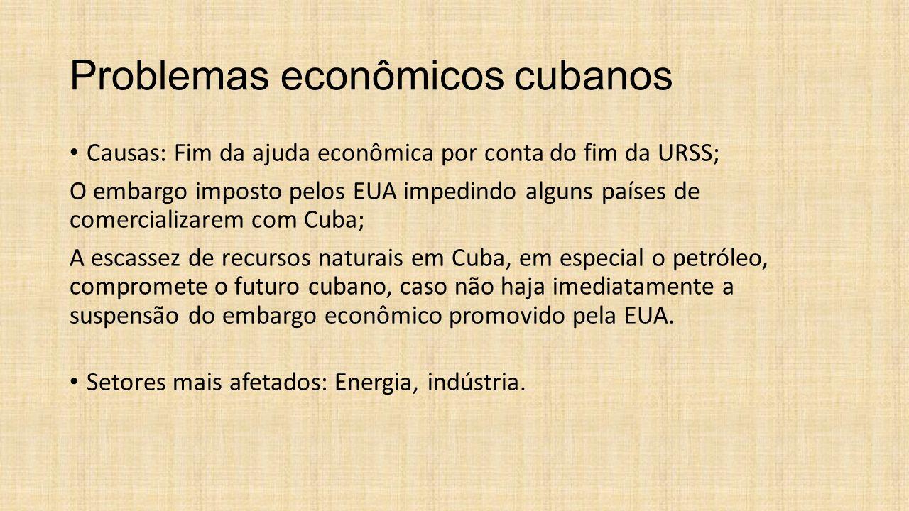 Problemas econômicos cubanos Causas: Fim da ajuda econômica por conta do fim da URSS; O embargo imposto pelos EUA impedindo alguns países de comercial