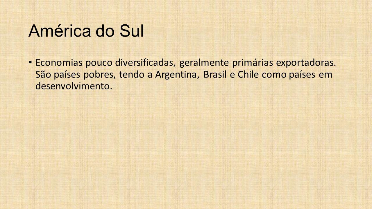 América do Sul Economias pouco diversificadas, geralmente primárias exportadoras. São países pobres, tendo a Argentina, Brasil e Chile como países em