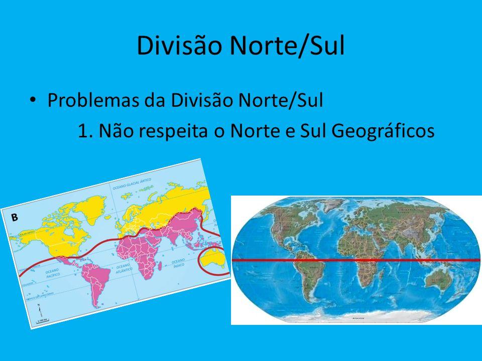 Divisão Norte/Sul Problemas da Divisão Norte/Sul 1. Não respeita o Norte e Sul Geográficos