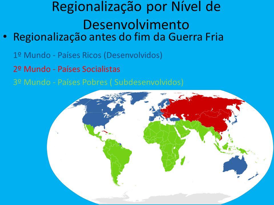 Regionalização por Nível de Desenvolvimento Regionalização antes do fim da Guerra Fria 1º Mundo - Países Ricos (Desenvolvidos) 2º Mundo - Países Socia