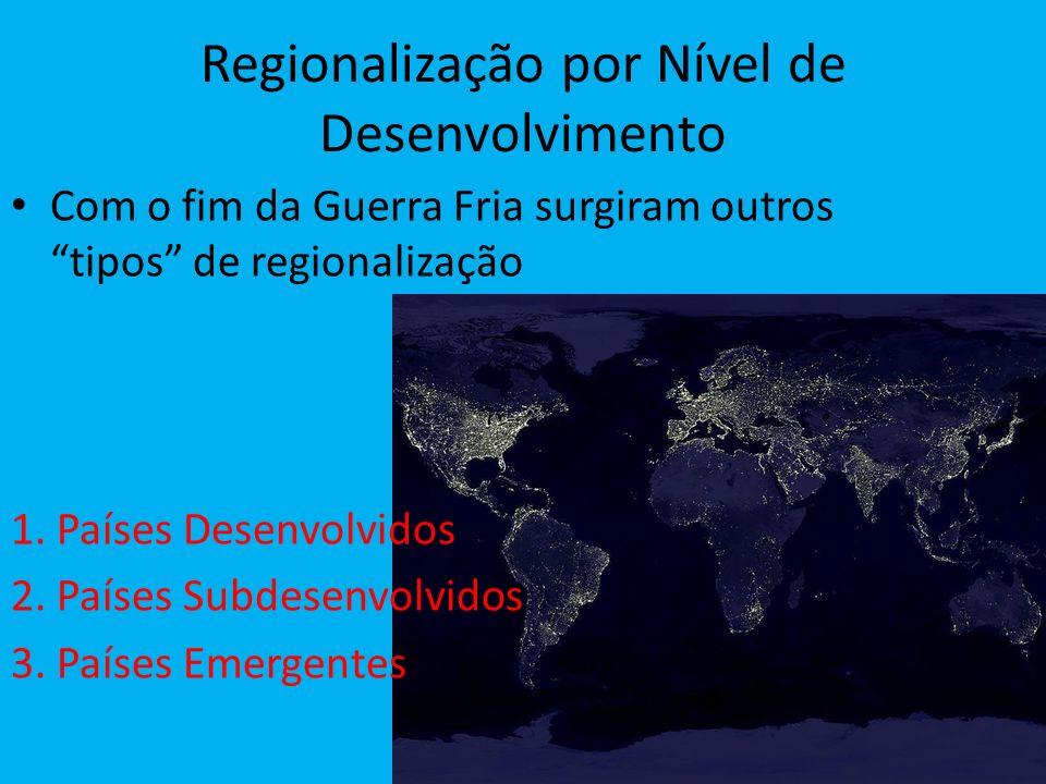 Regionalização por Nível de Desenvolvimento Com o fim da Guerra Fria surgiram outros tipos de regionalização 1. Países Desenvolvidos 2. Países Subdese
