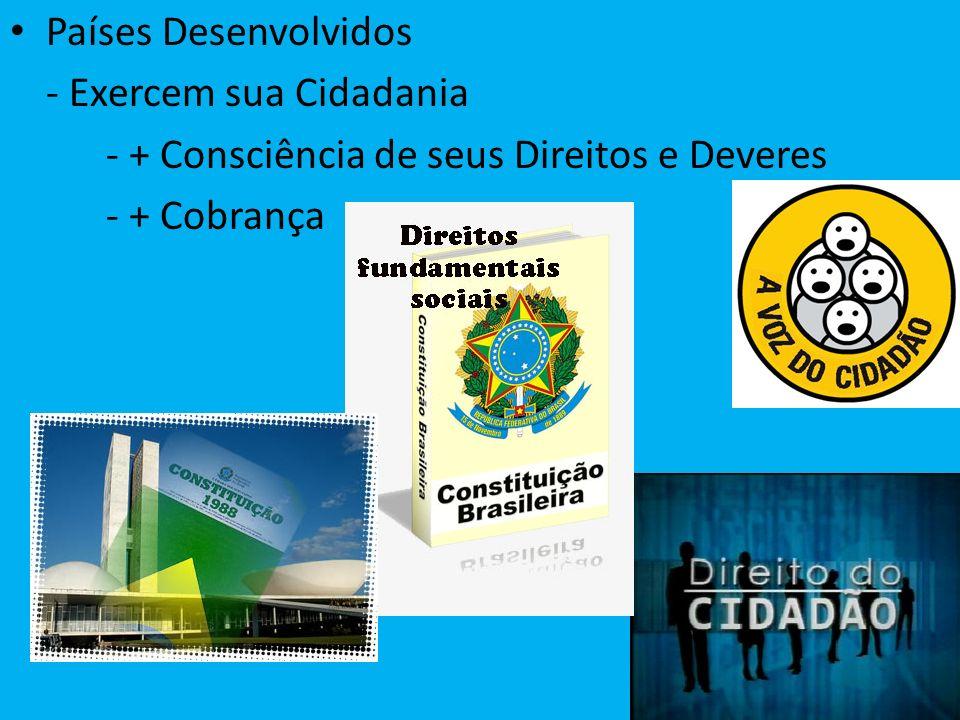 Países Desenvolvidos - Exercem sua Cidadania - + Consciência de seus Direitos e Deveres - + Cobrança