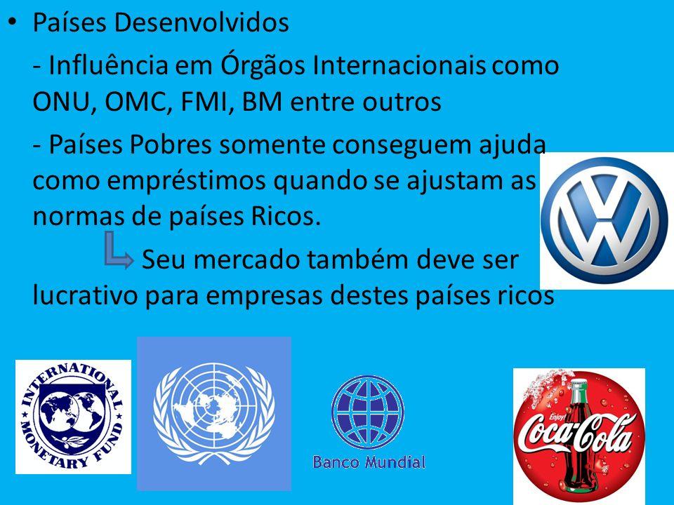 Países Desenvolvidos - Influência em Órgãos Internacionais como ONU, OMC, FMI, BM entre outros - Países Pobres somente conseguem ajuda como empréstimo