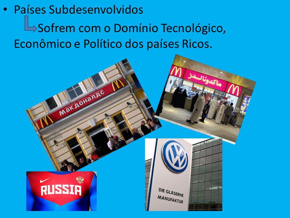 Países Subdesenvolvidos Sofrem com o Domínio Tecnológico, Econômico e Político dos países Ricos.