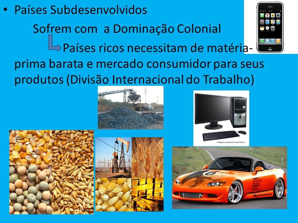 Países Subdesenvolvidos Sofrem com a Dominação Colonial Países ricos necessitam de matéria- prima barata e mercado consumidor para seus produtos (Divi