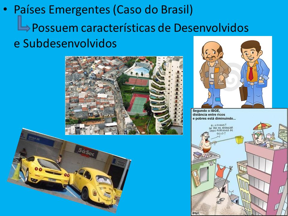 Países Emergentes (Caso do Brasil) Possuem características de Desenvolvidos e Subdesenvolvidos