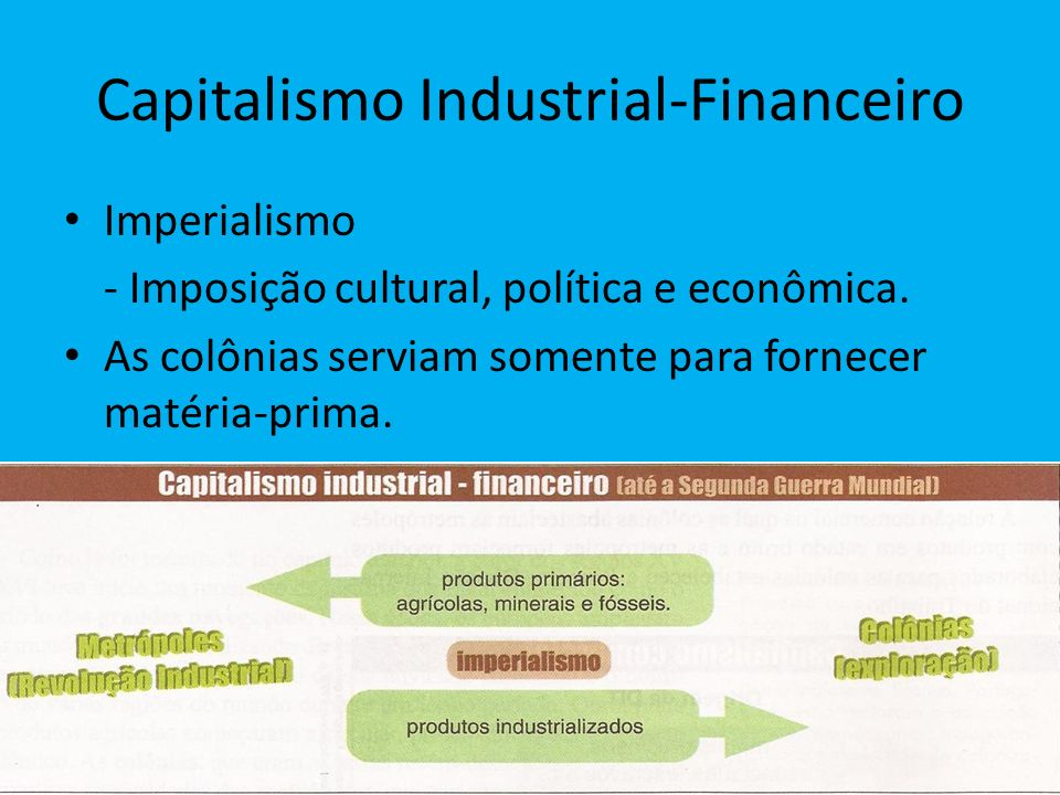 Capitalismo Industrial-Financeiro Imperialismo - Imposição cultural, política e econômica. As colônias serviam somente para fornecer matéria-prima.