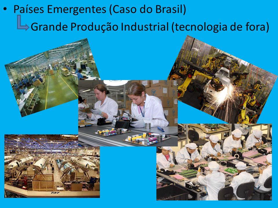 Países Emergentes (Caso do Brasil) Grande Produção Industrial (tecnologia de fora)