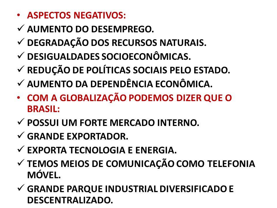 ASPECTOS NEGATIVOS: AUMENTO DO DESEMPREGO. DEGRADAÇÃO DOS RECURSOS NATURAIS. DESIGUALDADES SOCIOECONÔMICAS. REDUÇÃO DE POLÍTICAS SOCIAIS PELO ESTADO.