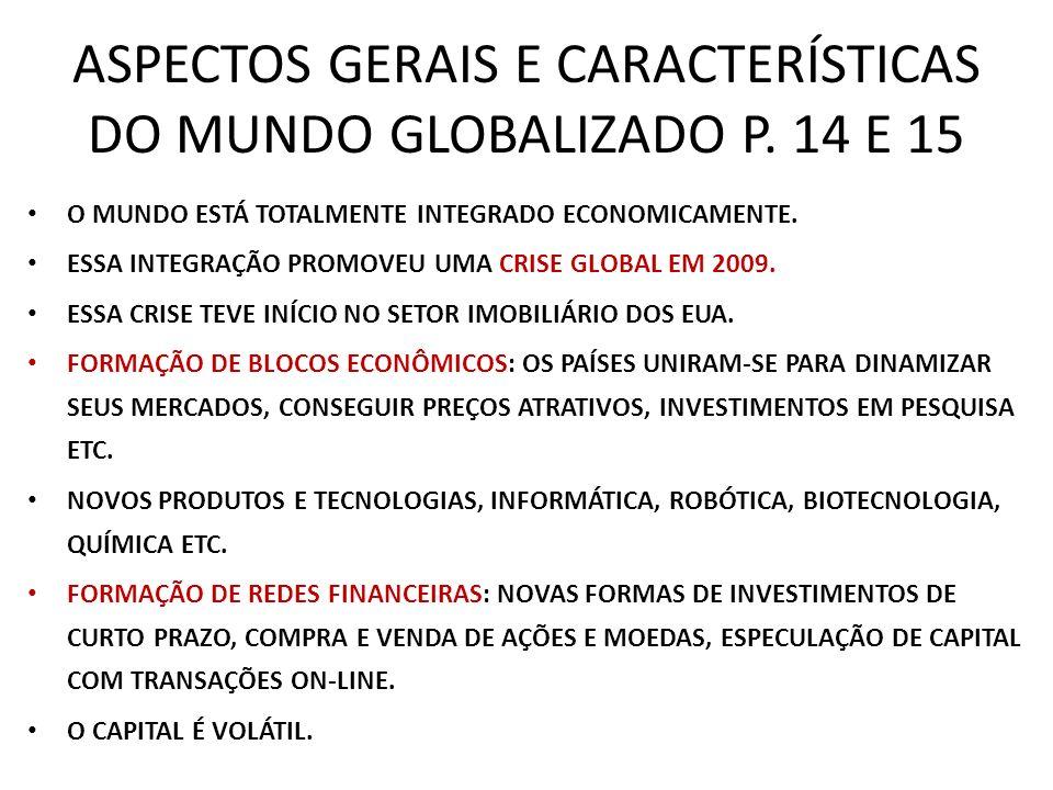 ASPECTOS GERAIS E CARACTERÍSTICAS DO MUNDO GLOBALIZADO P. 14 E 15 O MUNDO ESTÁ TOTALMENTE INTEGRADO ECONOMICAMENTE. ESSA INTEGRAÇÃO PROMOVEU UMA CRISE