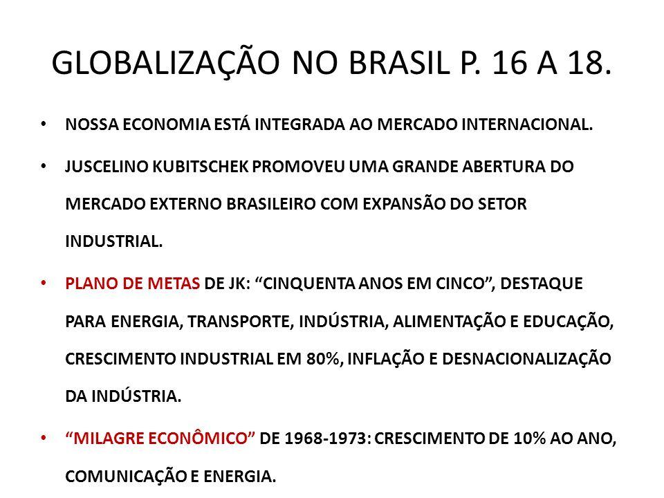 GLOBALIZAÇÃO NO BRASIL P. 16 A 18. NOSSA ECONOMIA ESTÁ INTEGRADA AO MERCADO INTERNACIONAL. JUSCELINO KUBITSCHEK PROMOVEU UMA GRANDE ABERTURA DO MERCAD