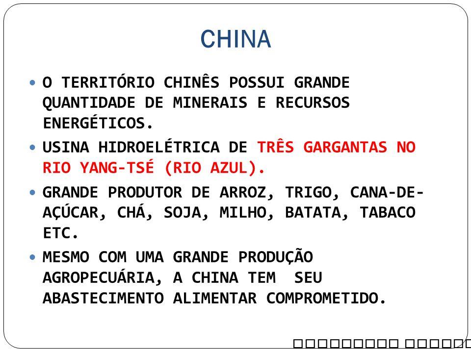 CHINA O TERRITÓRIO CHINÊS POSSUI GRANDE QUANTIDADE DE MINERAIS E RECURSOS ENERGÉTICOS. USINA HIDROELÉTRICA DE TRÊS GARGANTAS NO RIO YANG-TSÉ (RIO AZUL