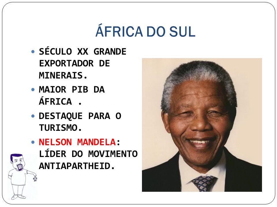 ÁFRICA DO SUL SÉCULO XX GRANDE EXPORTADOR DE MINERAIS. MAIOR PIB DA ÁFRICA. DESTAQUE PARA O TURISMO. NELSON MANDELA: LÍDER DO MOVIMENTO ANTIAPARTHEID.