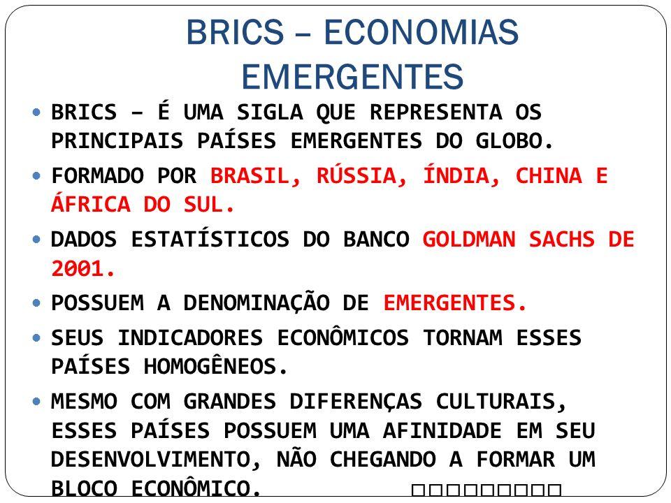 BRICS – ECONOMIAS EMERGENTES BRICS – É UMA SIGLA QUE REPRESENTA OS PRINCIPAIS PAÍSES EMERGENTES DO GLOBO. FORMADO POR BRASIL, RÚSSIA, ÍNDIA, CHINA E Á