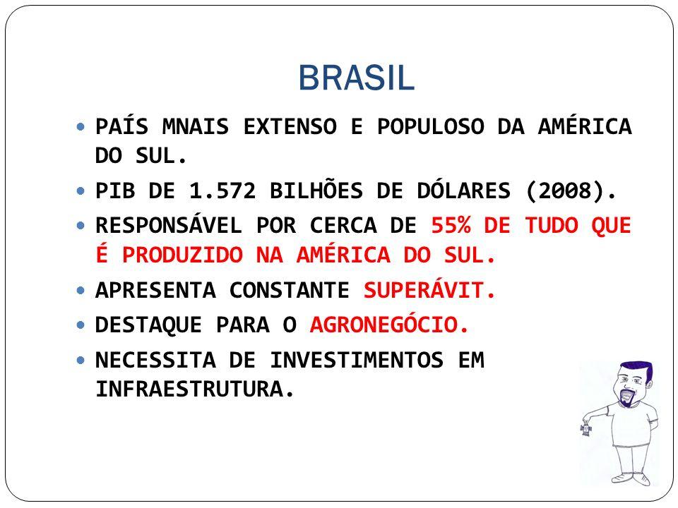BRASIL PAÍS MNAIS EXTENSO E POPULOSO DA AMÉRICA DO SUL. PIB DE 1.572 BILHÕES DE DÓLARES (2008). RESPONSÁVEL POR CERCA DE 55% DE TUDO QUE É PRODUZIDO N