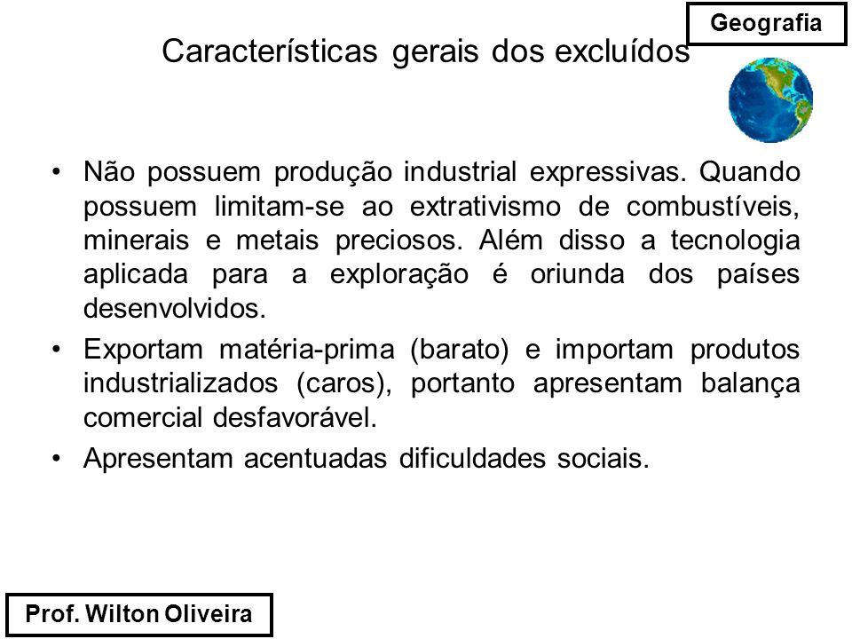 Prof. Wilton Oliveira Geografia Características gerais dos excluídos Não possuem produção industrial expressivas. Quando possuem limitam-se ao extrati